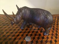 Carved Hardwood Rhinoceros