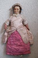 Rare Antique Apprentice Piece Costume Fabric Doll - All Hand Stitched