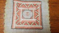 2 X Georgian Embroidered Squares, Silk, Linen, Gold Thread, Anchors