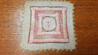 2 X Georgian Embroidered Squares, Silk, Linen, Gold Thread, Anchors (4 of 5)
