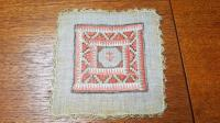 2 X Georgian Embroidered Squares, Silk, Linen, Gold Thread, Anchors (3 of 5)