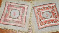 2 X Georgian Embroidered Squares, Silk, Linen, Gold Thread, Anchors (2 of 5)