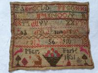 Small Decorative and Colourful Antique English Needlework Sampler, Mary Park, 1831?