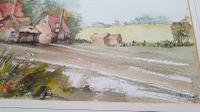 Watercolour, English Rural Scene, Farmhouse, Sailing Ship on Reverse, Unframed (2 of 5)