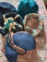 Ten True Vintage 1950s Straw, Velvet & Feather Trimmed Hats