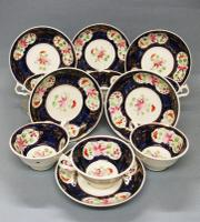 Set of Six Staffordshire 'Gaudy Welsh' Tea Cups & Saucers c.1840-1850