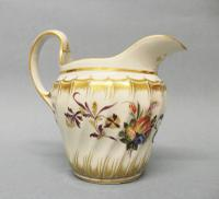 Interesting Worcester, Flight Period, Spiral Fluted Cream Jug with Later Additional Decoration c.1790