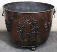 Large Dutch Lacquered Copper Log Bin with Crested Decoration c.1800