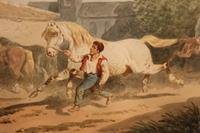 """Theodore Fort B. 1810 (French) """"Figures and Horses"""" Watercolour"""