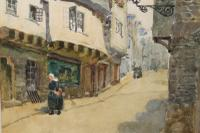 """""""Quimper"""" 19th Century Watercolour Signed L Bell"""