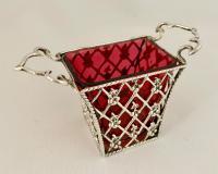 Pretty Edwardian Silver & Cranberry Basket.