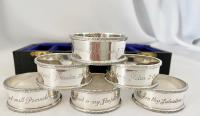 Sterling Silver Napkin Rings Inscribed with Religious Texts. Birmingham 1965 (2 of 7)