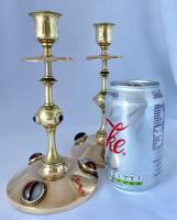 Agate Cabochon & Brass Pugin Influenced Candlesticks c.1870 (6 of 6)