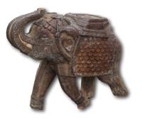 19th Century Indian Carved Elephant with Copper Decoration