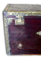 Red Leather Traveling Trunk with Polished Brass Detail (4 of 7)