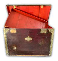 Red Leather Traveling Trunk with Polished Brass Detail (7 of 7)