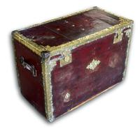 Red Leather Traveling Trunk with Polished Brass Detail (3 of 7)