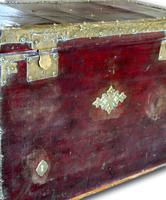 Red Leather Traveling Trunk with Polished Brass Detail (6 of 7)