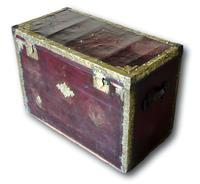 Red Leather Traveling Trunk with Polished Brass Detail (2 of 7)