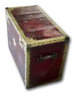 Red Leather Traveling Trunk with Polished Brass Detail (5 of 7)