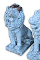 Pair of White Painted Terracotta Lions (2 of 5)
