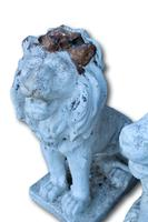 Pair of White Painted Terracotta Lions (5 of 5)