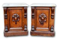Pair of Oak Cabinets with Marble Tops (2 of 5)