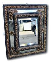 19th Century Brass & Ebonised Cushion Mirror (2 of 5)