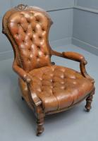 Victorian Walnut & Original Leather Spoon-Back Armchair