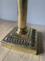 Large Victorian Brass Corinthian Column Table, Rewired & Pat Tested Lamp (3 of 10)