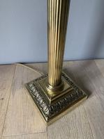 Large Victorian Brass Corinthian Column Table, Rewired & Pat Tested Lamp (6 of 10)