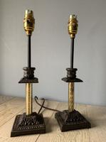 Near Pair of Victorian Table Lamps, Converted Candlesticks, Rewired & PAT Tested