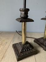 Near Pair of Victorian Table Lamps, Converted Candlesticks, Rewired & PAT Tested (2 of 10)
