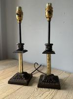 Near Pair of Victorian Table Lamps, Converted Candlesticks, Rewired & PAT Tested (6 of 10)