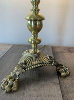 Quality Claw Foot Cast Brass Table Lamp, Rewired & PAT Tested c.1890 (11 of 11)