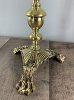Quality Claw Foot Cast Brass Table Lamp, Rewired & PAT Tested c.1890 (4 of 11)