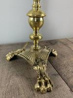 Quality Claw Foot Cast Brass Table Lamp, Rewired & PAT Tested c.1890 (7 of 11)