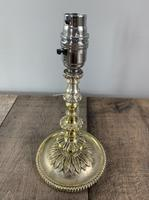 Small Victorian Distressed Silver Plated Brass Table Lamp, Rewired & Pat Tested (4 of 8)