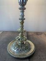 Small Victorian Distressed Silver Plated Brass Table Lamp, Rewired & Pat Tested (7 of 8)