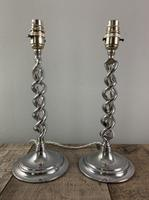 Pair of 1930s Chrome Twist Table Lamps, Rewired & PAT Tested
