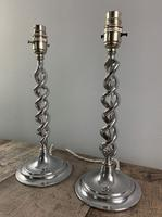 Pair of 1930s Chrome Twist Table Lamps, Rewired & PAT Tested (6 of 8)
