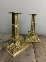 Beautiful French C1890 Cherub Pair of Brass Candlesticks, Lovely Patina (2 of 7)