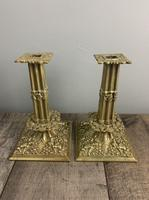 Beautiful French C1890 Cherub Pair of Brass Candlesticks, Lovely Patina (3 of 7)