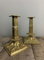 Beautiful French C1890 Cherub Pair of Brass Candlesticks, Lovely Patina (4 of 7)