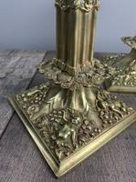 Beautiful French C1890 Cherub Pair of Brass Candlesticks, Lovely Patina (5 of 7)