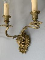 Pair of French Ornate Gilt Wall Lights, Rewired (4 of 9)
