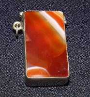 Vesta Case with Carnelian Banded Agate Stone Both Sides