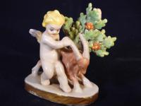 19th Century Samson Porcelain Cherub Putti Figurine Holding Goats Horn, Gold Anchor Mark (3 of 7)