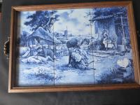 J C Hunnik - 6 Blue and White Tiles Incorporated Into Decorative Tray (5 of 16)