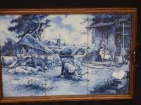 J C Hunnik - 6 Blue and White Tiles Incorporated Into Decorative Tray (3 of 16)